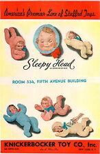 1942 PAPER AD 2 Sided Knickerbocker Toy Co Sleepy Head Doll Plush Stuffed