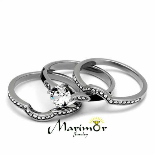 Her /& His 4pc Silver /& Black Stainless Steel /& Titanium Wedding Ring Band Set