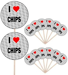 I Love Chicken Nuggets Party Food Cupcake Picks Sticks Flags Decorations Toppers