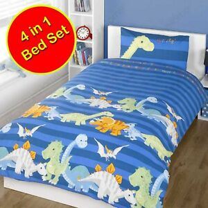 Dinoasurs-Bleu-4-IN-1-Junior-Ensemble-de-Housse-Couette-Literie-Bundle-Neuf-Bebe
