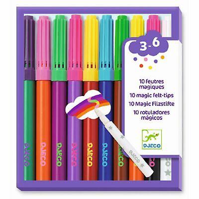 DJECO 10 beidseitige Pinselstifte Filzstifte Pop Up Farben dicke und dünne Seite