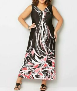 Details about Avenue Plus Size Sleeveless V-Neck Maxi Printed Dress 14/16