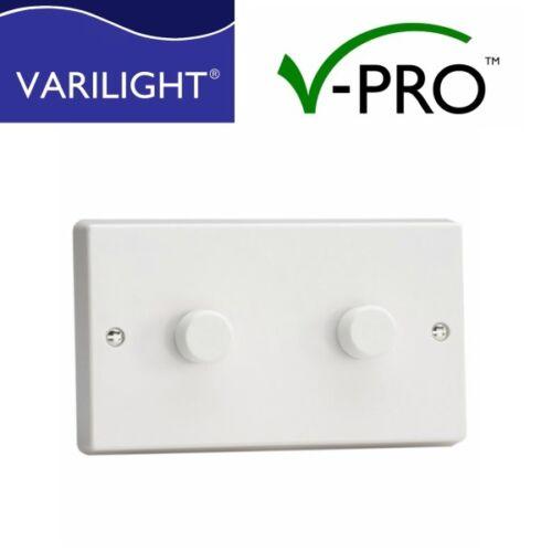 DEL Dimmer Varilight V-Pro Interrupteur 2 gang 1 ou 2 Façon Bord de fuite 0-300 W X 2