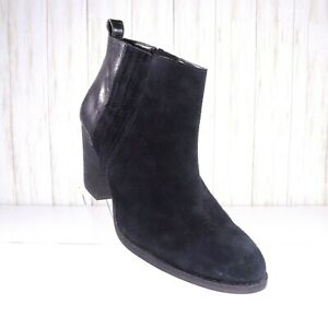 Nine-West-Black-Leather-Suede-Ankle-Boots-Size-10-5-Womens-Booties-Euc