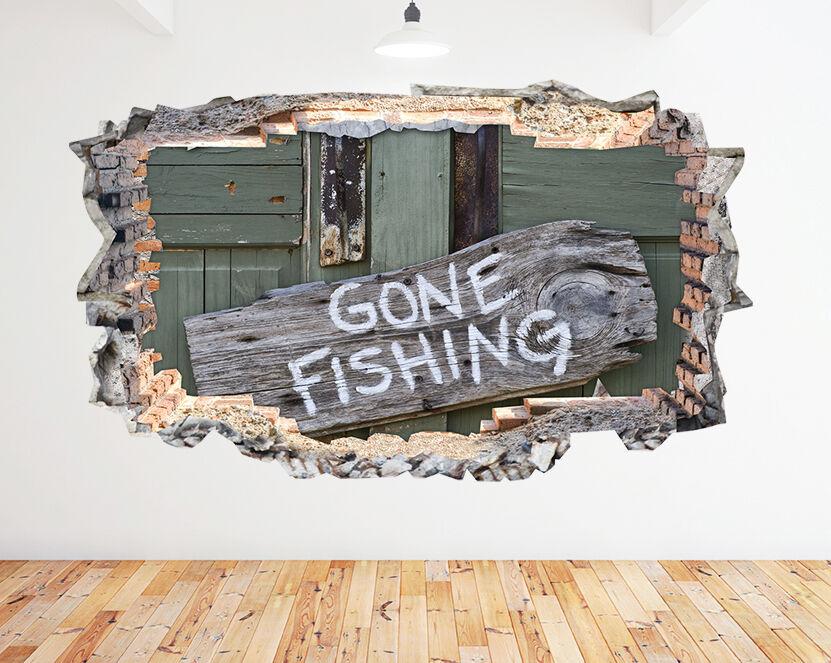 N265 Gone Fishing portello di legno Segno stanz adesivo da parete camera bambini