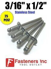 Qty 25 Pop Rivets All Stainless Steel 6 8 316 X 12 Grip Range