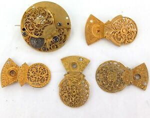 ANTIQUE-GEORGIAN-amp-VICTORIAN-POCKET-WATCH-MOVEMENT-BROOCHES-PART-BROOCHES
