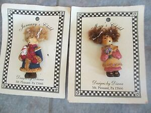 2 Cute DESIGNS by DIANA JANUARYS and MAYS CHILD Pins BROOCHES e FREE SHIPPING!