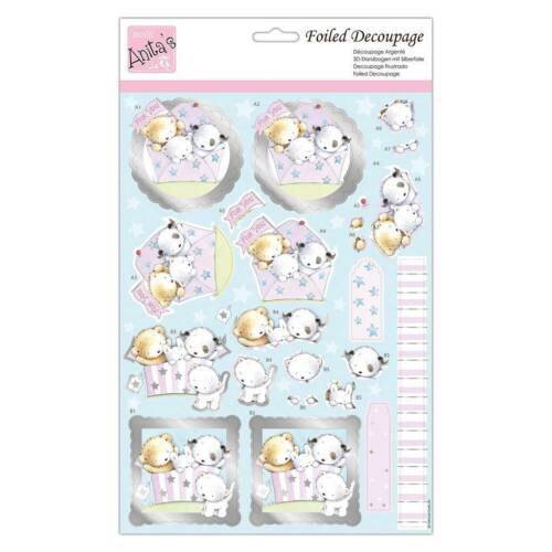 docrafts Anita/'s Foiled Decoupage Puppy Surprise A4 Sheet