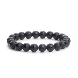 8mm-Stone-Matte-Black-Onyx-Gradient-bracelet-Handmade-Healing-Stretch-Beaded-N29
