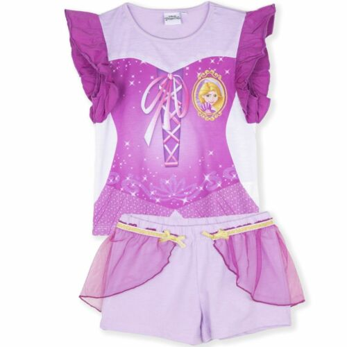 Disney Princess Girls Short Sleeve Pyjamas Pajamas Set Pjs Nightwear 2 to 6 Yrs