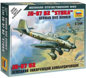 Tatty-Box-Z6123-Ju-87-B2-STUKA-Deutsch-Tauchgang-Bomber-Zvezda-1-144-B