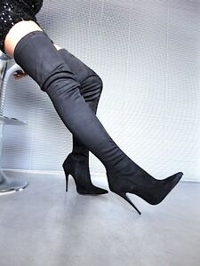 MORI OVERKNEE HIGH SEXY HEELS ITALY STIEFEL BOOTS STRETCH LEATHER BLACK NERO 43