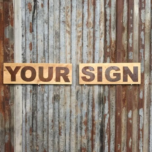 """Any 6 Letters Personnelised Industrial Rusty 5/"""" Lettering Metal Wood Rustic Sign"""