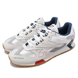 Reebok CL LTHR ATI 90s Chalk Grey Blue Red Gum Men Running Shoes ... a92e5d1ab