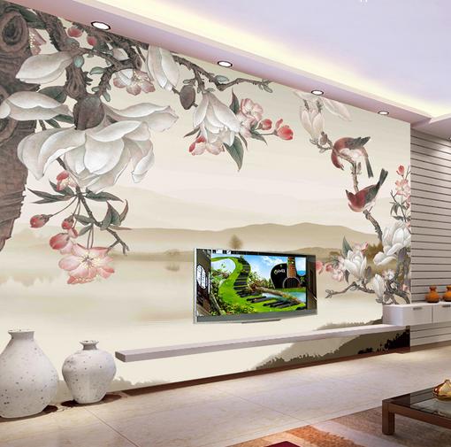 3D Hill Flowers Bird 7 Wall Paper Murals Wall Print Wall Wallpaper Mural AU Kyra