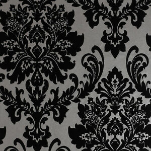 New Exclusive Havana Velvet Flock Black Grey Damask Wallpaper