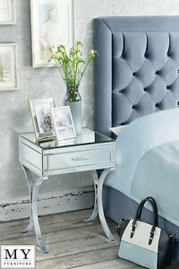 Image Is Loading My Furniture Mirrored And Chrome Bedside Table Aurelia