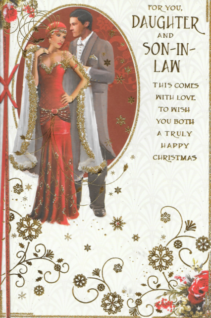 CC9 DAUGHTER /& SON IN LAW CHRISTMAS CARD,ART DECO,GOLD GLITTER,9 X 6 INCH