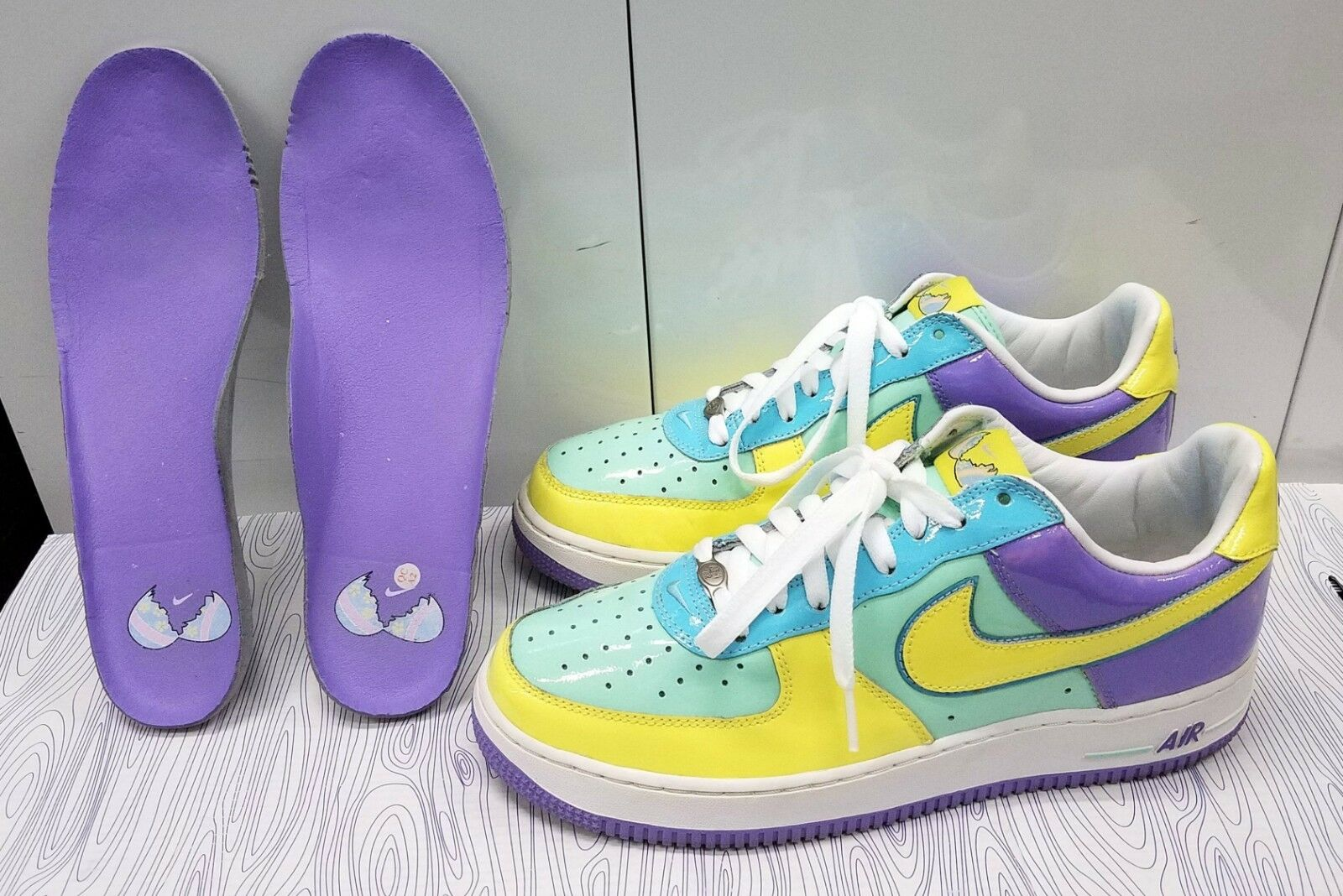 NIKE AIR FORCE ONE EASTER EGG MEN'S 8.5 MEDIUM MINT/LEMON FROST 312945-371 2018