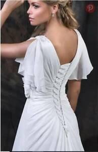 wedding dress new vneck poetsleeve corsetback chiffon