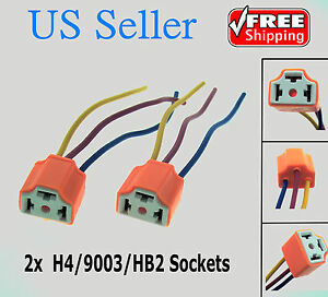 2x h4  9003  hb2 female pigtail ceramic headlight connector