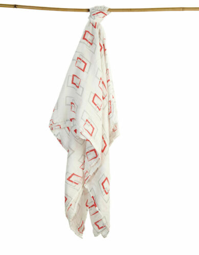 Lot Of 100 Pcs Organic Bamboo Muslin Baby Swaddle Blanket Red 3d Square Shape