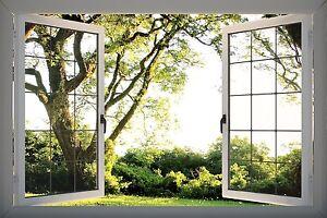 3D Effect Window View Garden Tree Nature Sticker Wall Poster Vinyl GA1-319