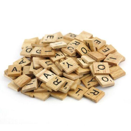 100 Scrabble Holzblöcke Alphabet Spielsteine Fliesen Buchstaben Handwerk Zahlen