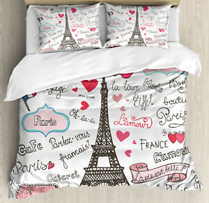 b1d1e2e467 Eiffel Tower Duvet Cover Set with Pillow Shams Paris Letter Heart ...