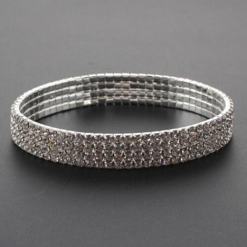 1 CAVIGLIERA bellissima elastica con strass color argento 1//2//3//4 file di strass
