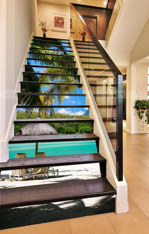 3D Kokosnuss Baum 5 Stair Risers Dekoration Fototapete Vinyl Aufkleber Tapete DE