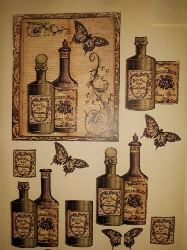A4 3D PAPER COLOGNE BOTTLES-PERFECT FOR DECOUPAGE DECOPATCH CARD MAKING CRAFTS
