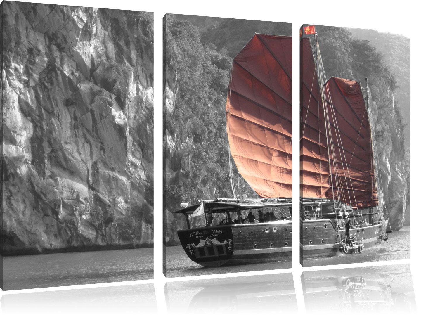 Velero en la Puesta Del Foto Sol 3-Teiler Foto Del en Lienzo Decoración de Pa rojo  c1f4f6