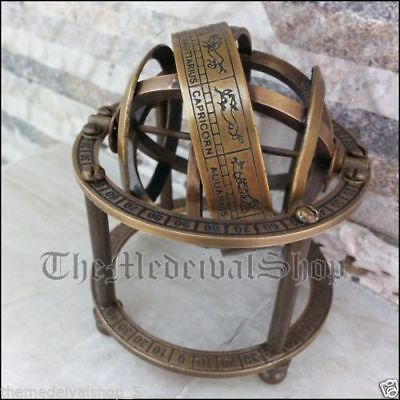 Antique Solid Brass Armillary Sphere Vintage Astrolabe Tabletop Globe Style Gift
