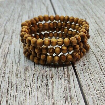 Wood Bead Bracelet 6 Mm Brown Wooden Jewelry Breads Ebay