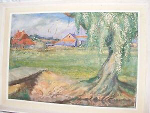 ANTIQUE-VINTAGE-OIL-PAINTING-BY-HERBERT-SARTELLE-LANDSCAPE-AMERICAN-ARTIST-BARN