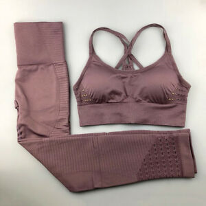 2-Piece-Seamless-Leggings-Crop-Top-Sport-Bra-Mesh-Set-Gym-High-Waist-Pants-Yoga