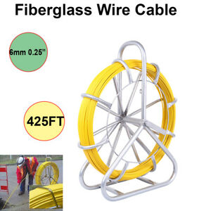 425ft Fiberglass Fish Tape Reel 6mm Wire Cable Conduit Puller Duct Rodder 130m