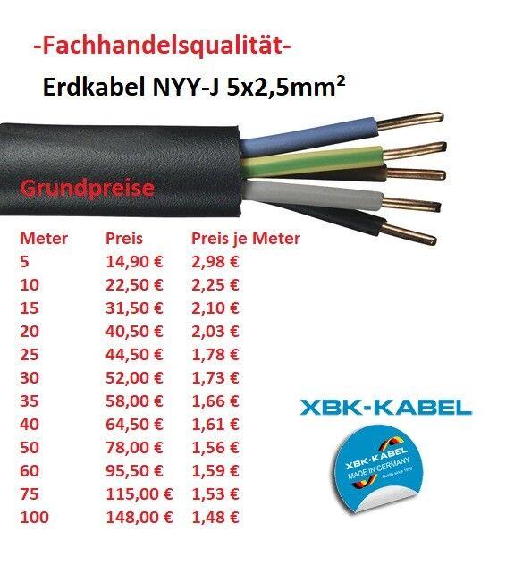 NYY-J 5x2,5 mm² Erdkabel, Starkstromkabel (ab 5 Meter erhältlich)  | Überlegene Qualität