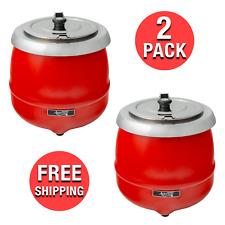2 Pack Commercial Kitchen Restaurant 11 Qt Red Food Soup Kettle Pot Warmer