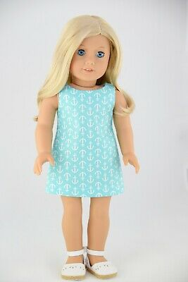 Easter Flower Navy Shift Dress American Made Doll Clothes For 18 Inch Girl Dolls