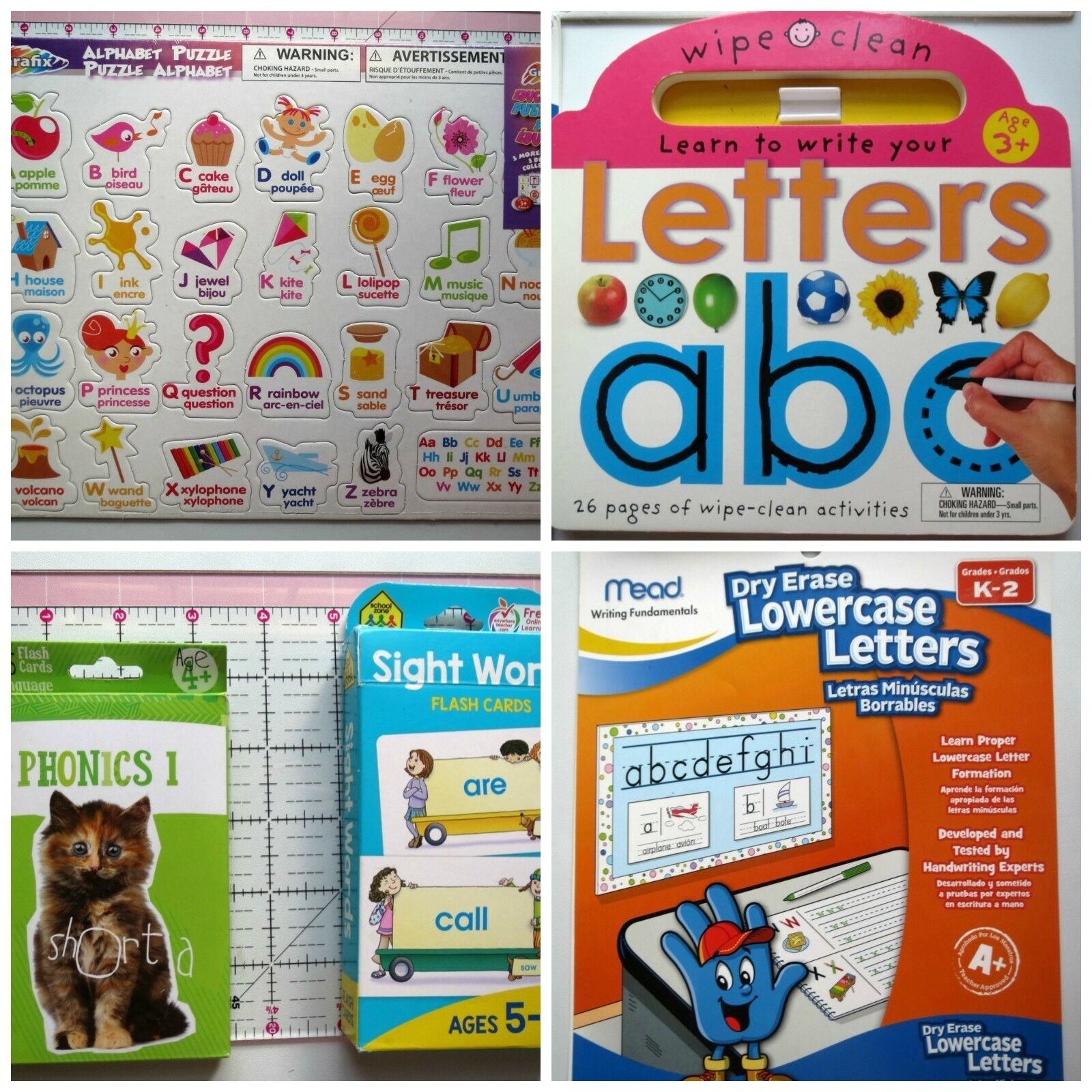 Lot Learn Letters Alphabet Puzzle, 2 Dry Erase Books, 2 Flash Cards Homeschool