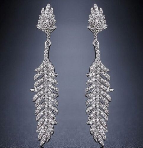 Silver Plated Cubic Zirconia Feather Drop CRYSTAL EARRINGS UK