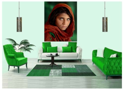AFGHAN GIRL PHOTO PICTURE PRINT ON WOOD FRAMED CANVAS WALL ART home DECORATION
