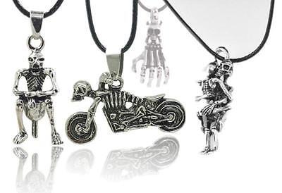 Men's Infinity Tibet Silver Stainless Steel Skull Pendant Chain Necklace   HOUS