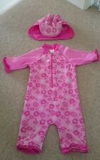 18-24 months girls swimming costume & matching hat with visor and neck cover min