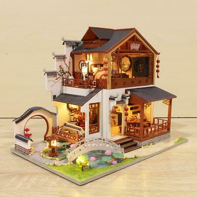 DIY Dollhouse Kit Handmade Assembled Chinese Ancient Building House for Christma