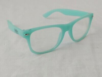 GLOW IN THE DARK VINTAGE RETRO OWL CLEAR LENS GLASSES PARTY Turquoise