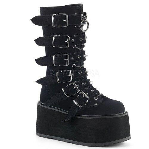 Demonia DAMNED-225 Women's Black Velvet Buckle Buckle Buckle Strap Lace Up Platform High Boots 81aad5